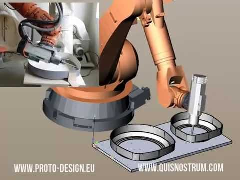 Fiberglass trimming with KUKA robot programmed with SprutCAM